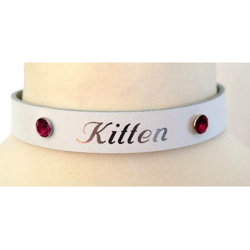 White leather Collar, Gems and PERSONALISED.