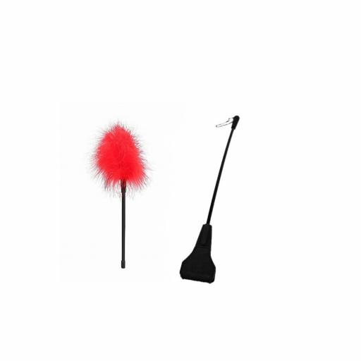 "Riding Crop and Feather Tickler ""Slap and Tickle"" BDSM pair."