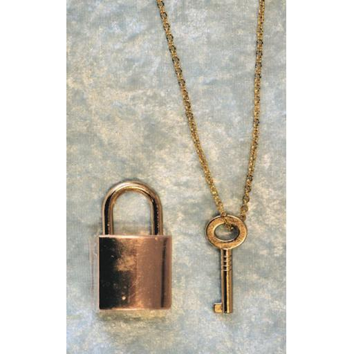 PERSONALISED Engraved PADLOCK With key on CHAIN. Gold plated.