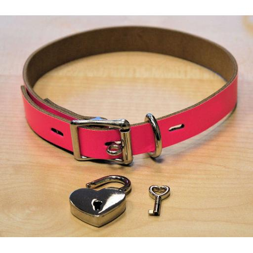 Flourescent pink leather collar. LOCKABLE and PERSONALISED