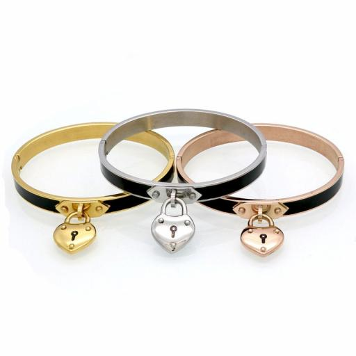 PERSONALISED Heart lock illusion bangle