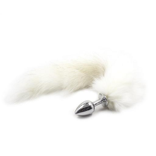 Foxtail Butt Plug in white