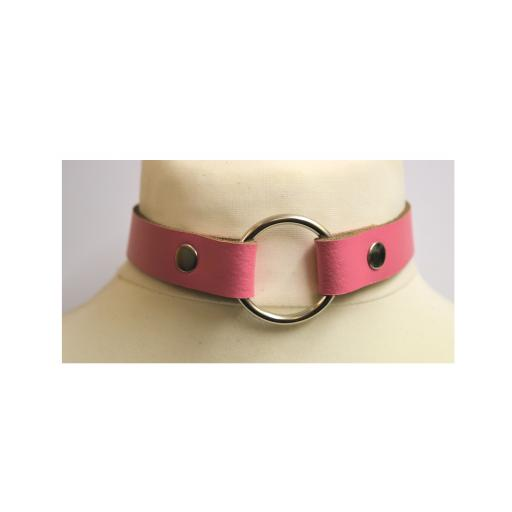 PERSONALISED O ring BDSM collar in Pink Leather.