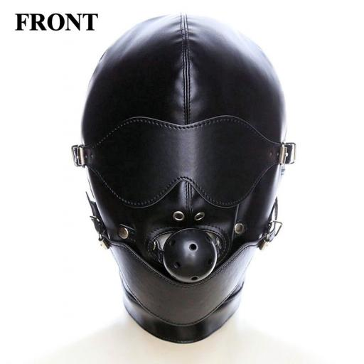Leather Fetish Sex Mask. Black Leather.
