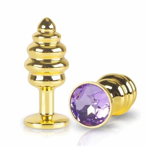 Ribbed Gold Anal Plug