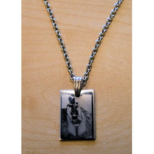 Photo Engraved ID Tag Necklace. LARGE