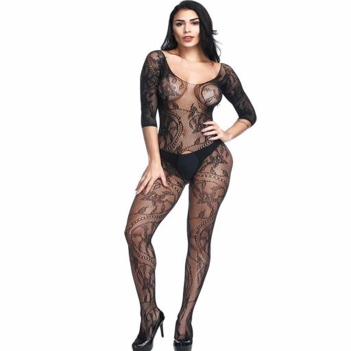 Crotchless 12 sleeve Body Stocking in Black Fishnet and Lace  (2).jpg
