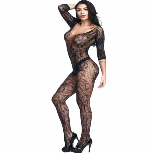 Crotchless 12 sleeve Body Stocking in Black Fishnet and Lace  (1).jpg