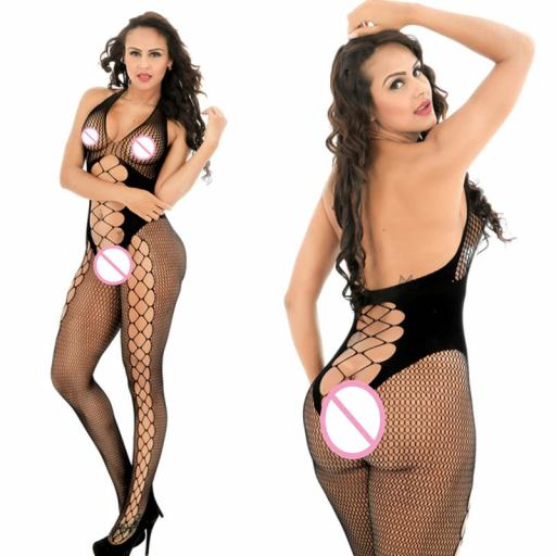 Body Stocking, Fishnet with side panels and cross lace.