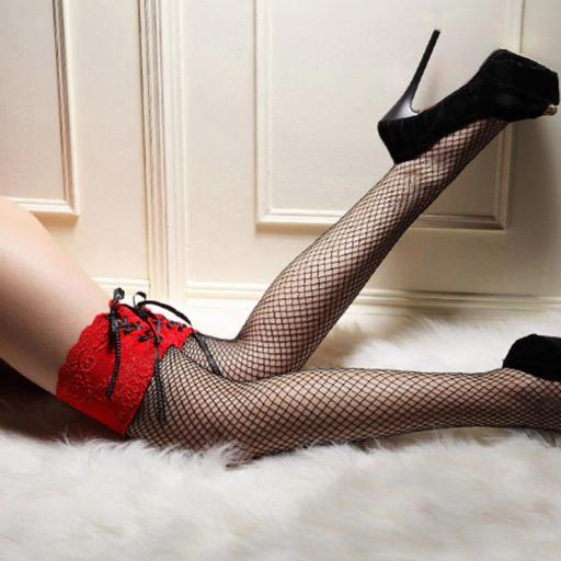 Fishnet Stockings with Lace up lacy tops. Black and Red.