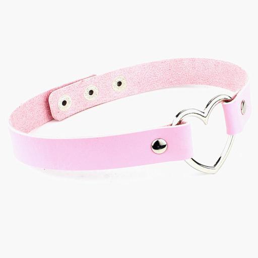 Lightweight Soft leather Heart day choker / collar. Pink