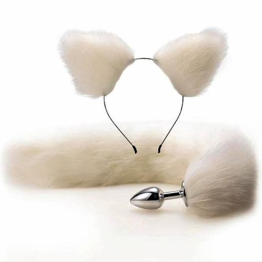 Metal Anal Butt Fox Tail Set With Hairband. Cosplay. White