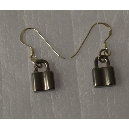 Padlock earrings on 925 Sterling Silver earhooks.