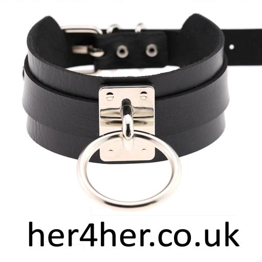 Sexy leather BDSM day collar / Choker with metal O ring